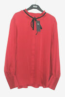 Ladies M&S Size 18 Frill Neck Red Blouse with Velvet Neck Tie Bnwt