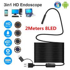 2M Semi-rigid 8mm Led Endoscope Waterproof Borescope Micro Usb Inspection Camera