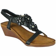 Womens Elastic Strap Wedges Open Toe Sandals Ladies Summer Bling Heel Shoes Size