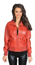 Ladies Real Leather Bomber Jacket Trendy Fitted Blouson Coat In Range Of Colours