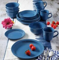 Round Modern Coblat Blue 16 Piece Dinnerware Set 4 Place Home Dining Dishes Plat