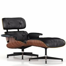 Replica Charles Eames Lounge and Ottoman (Walnut and Black Aniline Leather)