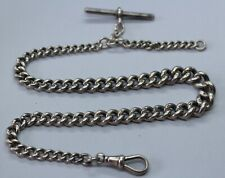 VINTAGE STERLING SILVER SINGLE CURB LINK GRADUATED ALBERT CHAIN