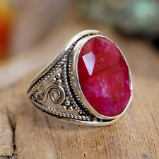 Silberring 53 Rubin Rot Rosenrot Handarbeit Silber Ring Verpsielt Vintage Design