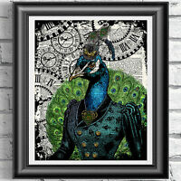 Peacock Print Vintage Dictionary Page Wall Art Picture Steampunk Animal