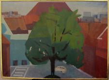 Mogens Kragh Pedersen 1913-1964, Stadtkomposition mit großem Baum, datiert 1963