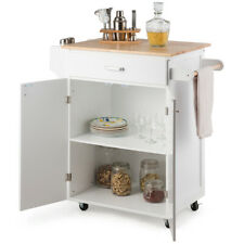 Rolling Kitchen Island Utility Kitchen Cart Cabinet With Spice Rack White
