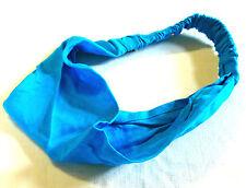 BANDEAU à CHEVEUX Bleu turquoise SERRE TÊTE TISSU Femme Homme Enfant Chouchou