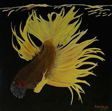 "Betta Fish Oil Painting, Black Background, Water Reflections, (20"" x 20"")"