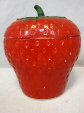 🍎 Hazel Atlas 1930's Strawberry Jam Jelly Jar Red Paint on Milk Glass
