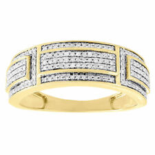 10K Yellow Gold Over Diamond Wedding Band Mens Round Cut Engagement Ring 0.39 Ct