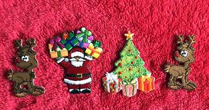 BULK 4PK 100% EMBROIDERY IRON ON CHRISTMAS PATCH SET SANTA PRESENT SNOWMAN TREE