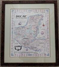 Rare SAK BE Map of the Mayan World professionally Framed 1999 Correo del arte