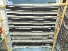 Serape XXL,5' X 7',Mexican Blanket,HOT ROD, Seat Covers,Motorcycle,GRAY & BLACK