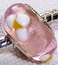 Pink Rose White Yellow Flowers Glass Bead for Silver European Charm Bracelets