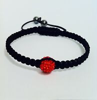 "Shamballa Bracelet 10mm Red Crystal Bead & Hematite "" ADJUSTABLE"" brand new"