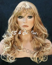 Long CURLY AND SASSY Blond mix WAVY Full WIG with BANGS Hairpiece WACA 27T613