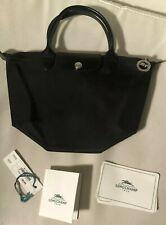 Longchamp Mini Le Pliage Cuir Leather Top Handle Bag in Black