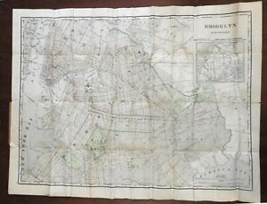 Brooklyn New York 1898 large rare pocket city plan map w/ 2 elevated RR lines