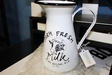 """Enamelware Pitcher-""""Farm Fresh Milk""""-White w/Black Trimmed Rim & Cow Motif"""