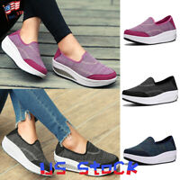 Fashion Women Breathable Platform Slip On Loafers Comfy Moccasins Wedge Shoes US