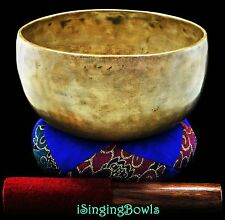 "Antique Tibetan Singing Bowl: Thado 7 3/8"", circa 18th Century, G#3 & D5. VIDEO"