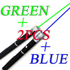 MILITARY 10Miles 5MW 532nm Green Blue Laser Pointer Pen Lazer Visible Beam Light