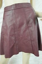 MANNING CARTELL burgundy wine 100% leather high waisted A-line skirt size 10 EUC