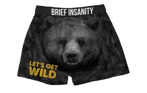 Brief Insanity Lets Get Wild Bear Cheeks Funny Boxer Shorts Underwear 7020002