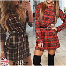 Womens Blouse Chiffon Long Sleeve T Shirt Casual Loose Short Dress Tops Fashion