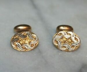 Victorian Etched Gold Filled Bean Back Cufflinks 6.6g 1890's