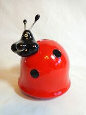 "LADYBUG STILL PIGGY BANK Red Black Plastic 4"" Coin Collector"