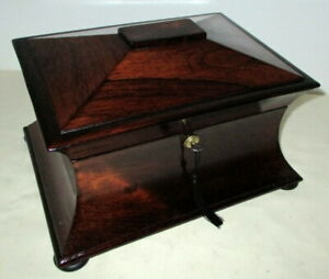STUNNING VICTORIAN ROSEWOOD & BRASS SHAPED BOX with key