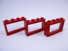 LEGO x3 Red Old Classic Window Réf 453 Set 258 055 066 145 135 379 760 384