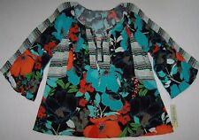 NWT Figueroa & Flower AQUA/BLACK/ORANGE Floral Tunic Peasant Boho Top XL DARLING
