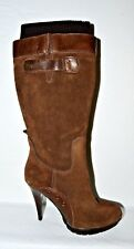 GUESS SZ 6 M BROWN SUEDE LEATHER PLATFORM SWEATER TOP BOOTS KNEE HIGH