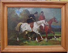 OIL ON CANVAS EQUESTRIAN SCENE FRAME PAINTING