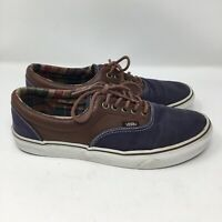 Vans Men's Canvas and Leather Sneakers Skate Shoes Size 9 Navy Blue Brown