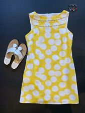 Vintage Lilly Pulitzer Yellow & White Graphic Dot Cotton Shift Dress Sz 6 / S