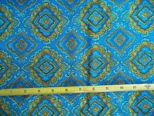 """Vintage Apsco Magnifique Turquoise Medallion Screen Print 45 in. Fabric 2 yd 33"""""""