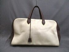 Authentic HERMES Beige Dark Brown Victoria 50 Toile H Boston Bag w/ Dust Bag