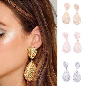 New Metal Pear Drop Style Statement Gold Dangle Earrings Studs Bloggers Boho UK