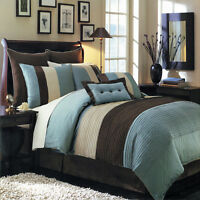 Hudson Blue Luxury 6-8 Piece Comforter Set Skirt Shams and Pillows - All sizes