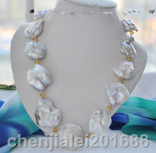 Big 40mm white baroque keshi reborn pearl necklace 23inch