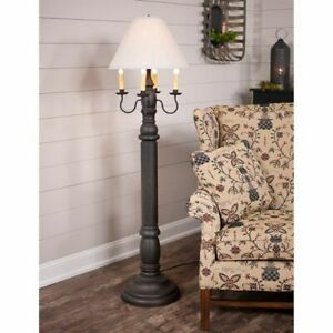 General James wood Floor Lamp in Black with Linen Ivory Shade