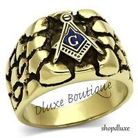 Men/'s 14k Gold IP Masonic Freemason Knights Templar Coat Of Arms Ring Size 8-14