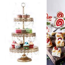 3 Tier Metal Cake Stand Wedding Birthday Display Dessert Round Cupcake Tower
