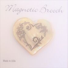 Magnetic Brooch Clasp Gold Lip Shell Heart Silver Foil Design Accessory