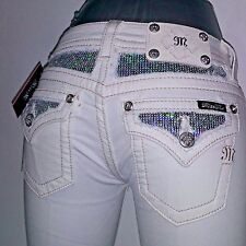 NWT $99 Miss Me Women Junior White Jeans Signature Skinny Stretch Sequin 25 X 31