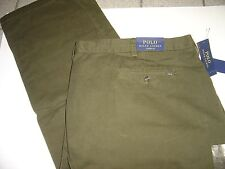 BIG MENS RALPH LAUREN OLIVE CLASSIC FIT FLAT FRONT CHINO PANTS SIZE 58 X 32 $98